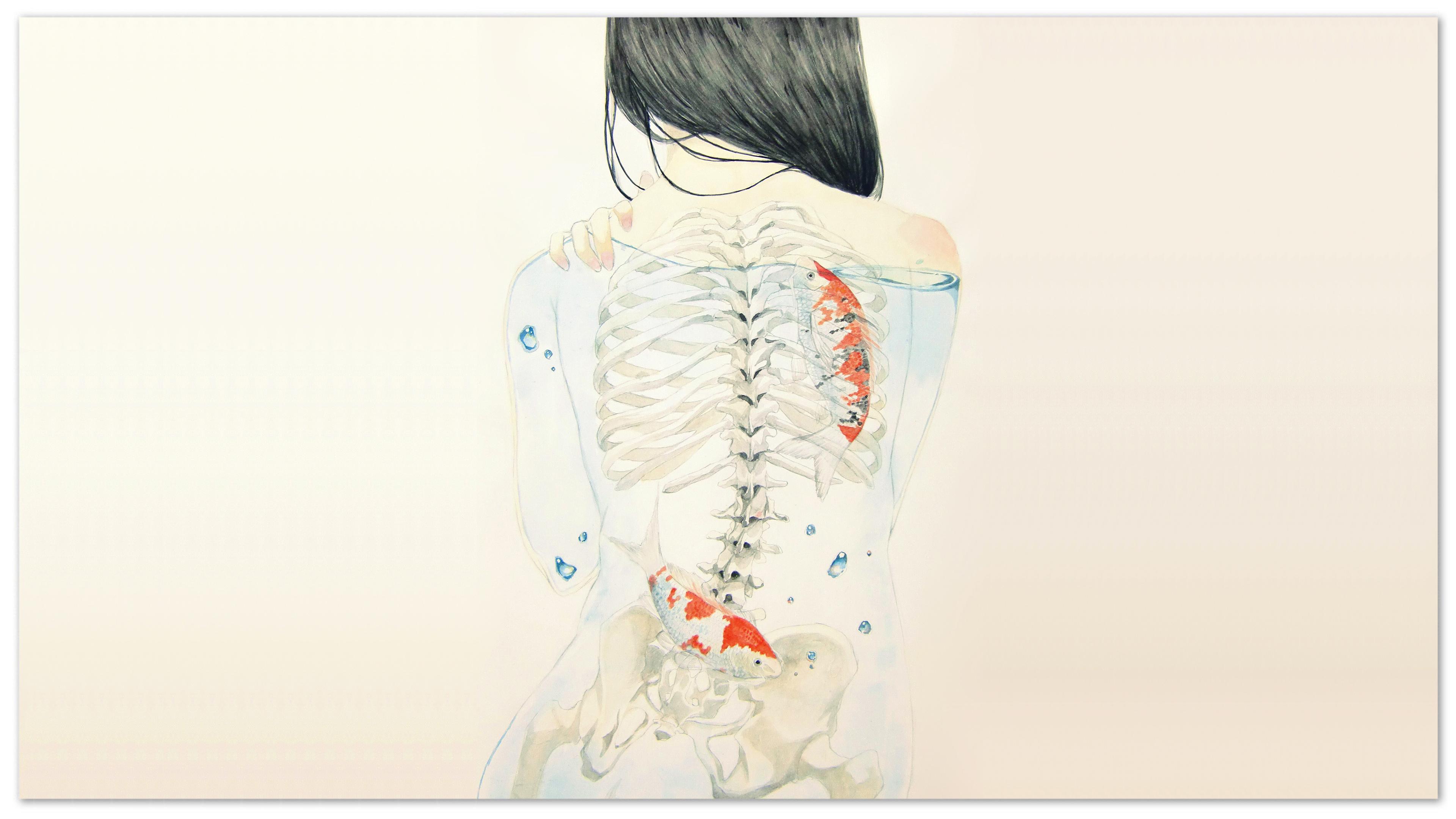 Back Skeleton White Koi Fish Drawing wallpaper | 3840x2160 ...