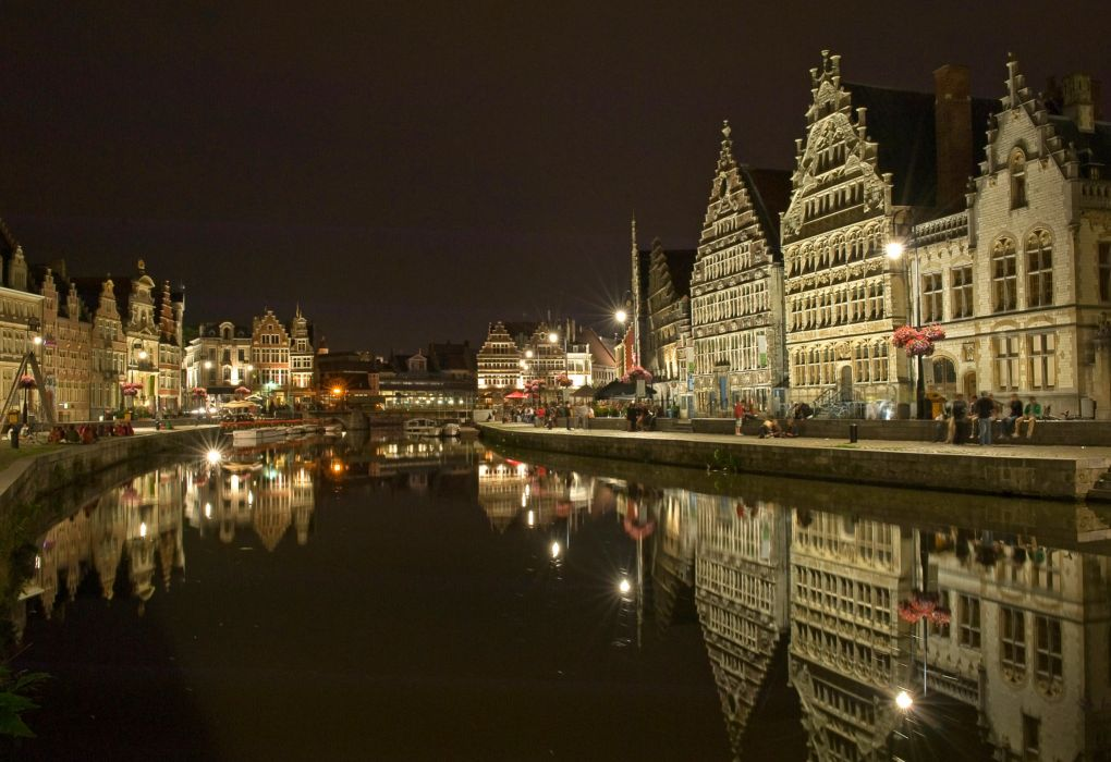 Belgium Houses Ghent Night Canal Street Cities reflection wallpaper