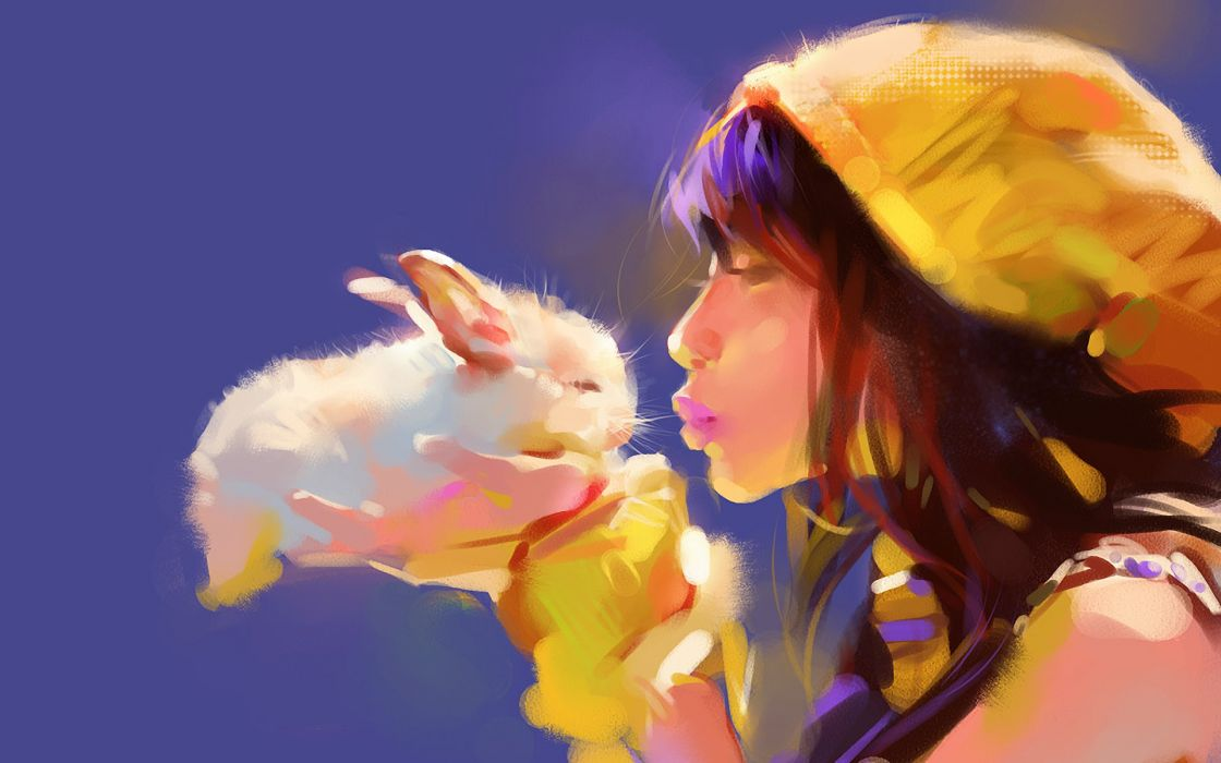 Bunny Rabbit Drawing Kiss Brunette girl mood wallpaper
