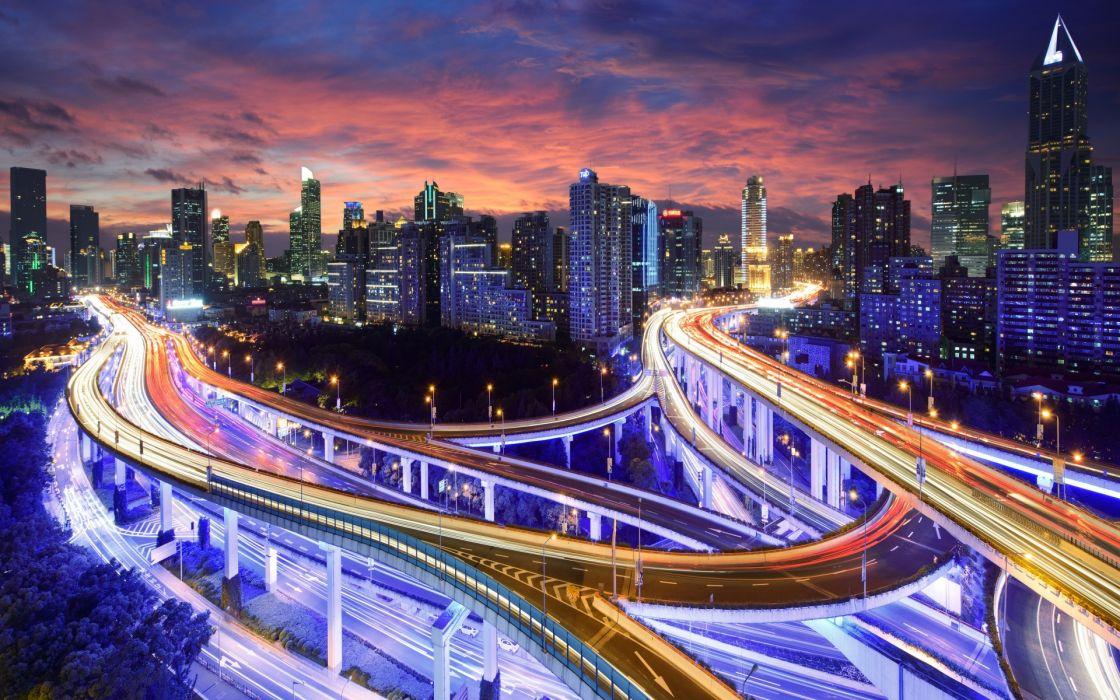 City Night Light Highway Road Endurance Skyscrapers Buildings Wallpaper