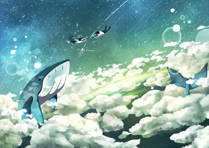 clouds original scenic seifuku sky stars whale wallpaper