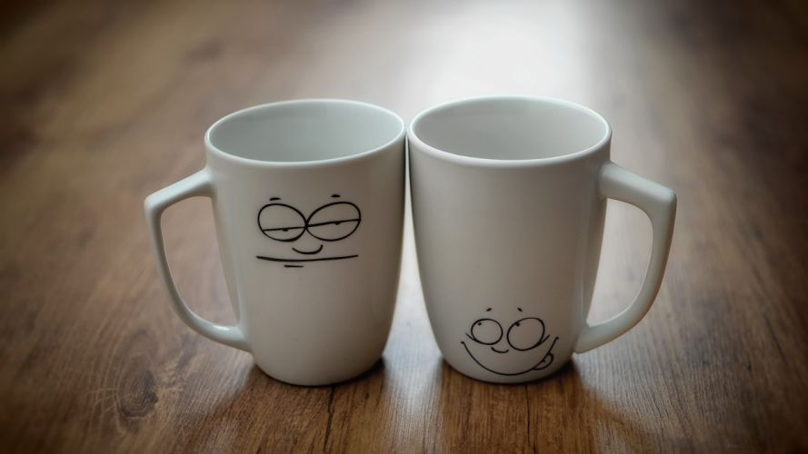 cups mood smiley face wallpaper