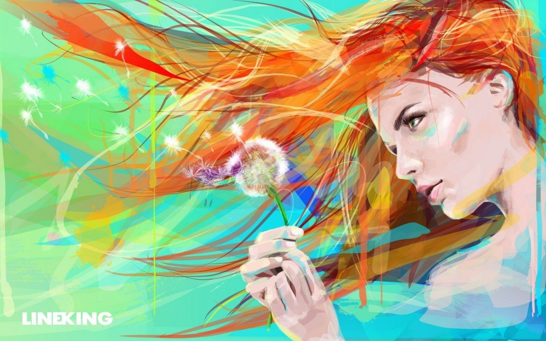 Dandelion Abstract Face Redhead Drawing wallpaper