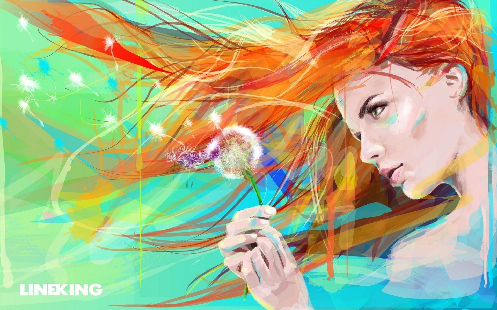графика абстракция девушка цветы graphics abstraction girl flowers  № 2062415  скачать