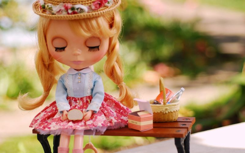 doll toy breakfast hat pigtails bench wallpaper