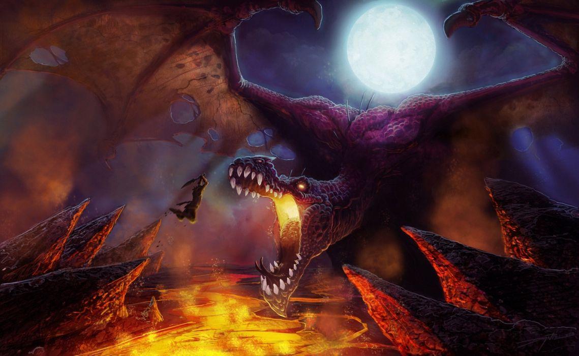 Dragons Battles Roar Fantasy wallpaper