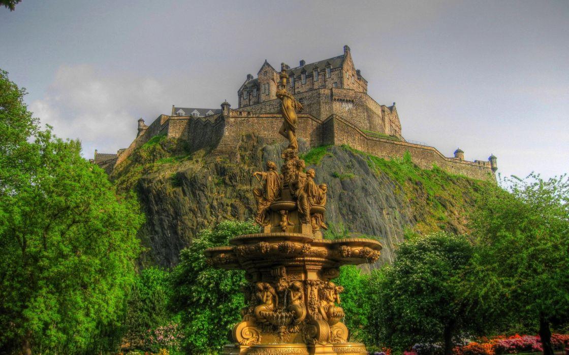 Edinburgh Castle fountain landscape wallpaper