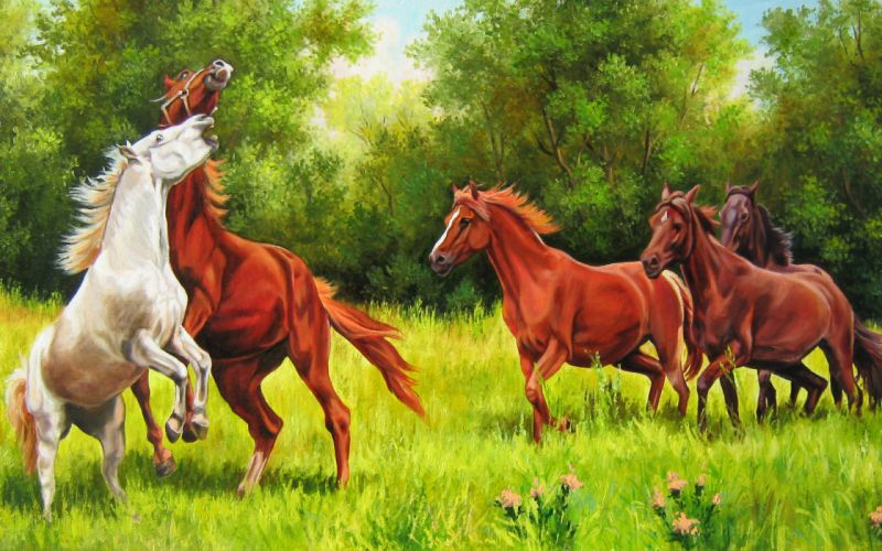 Elena Samara playful horses wallpaper