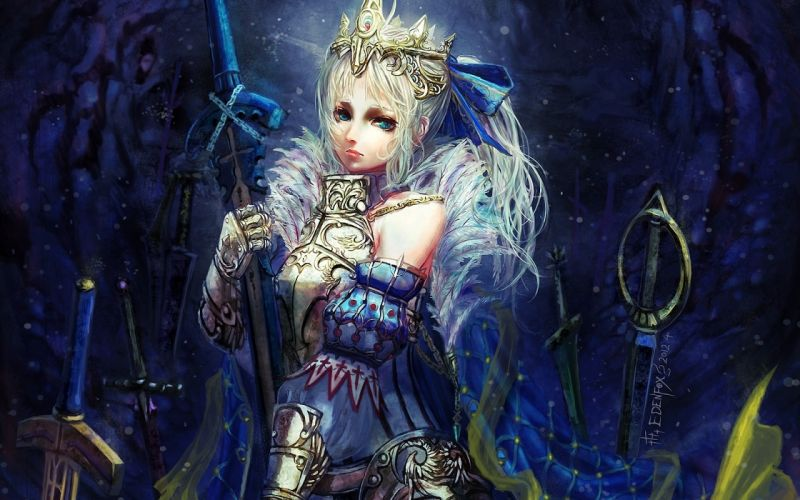 Fate stay night Saber girl blond warrior armor weapons sword wallpaper