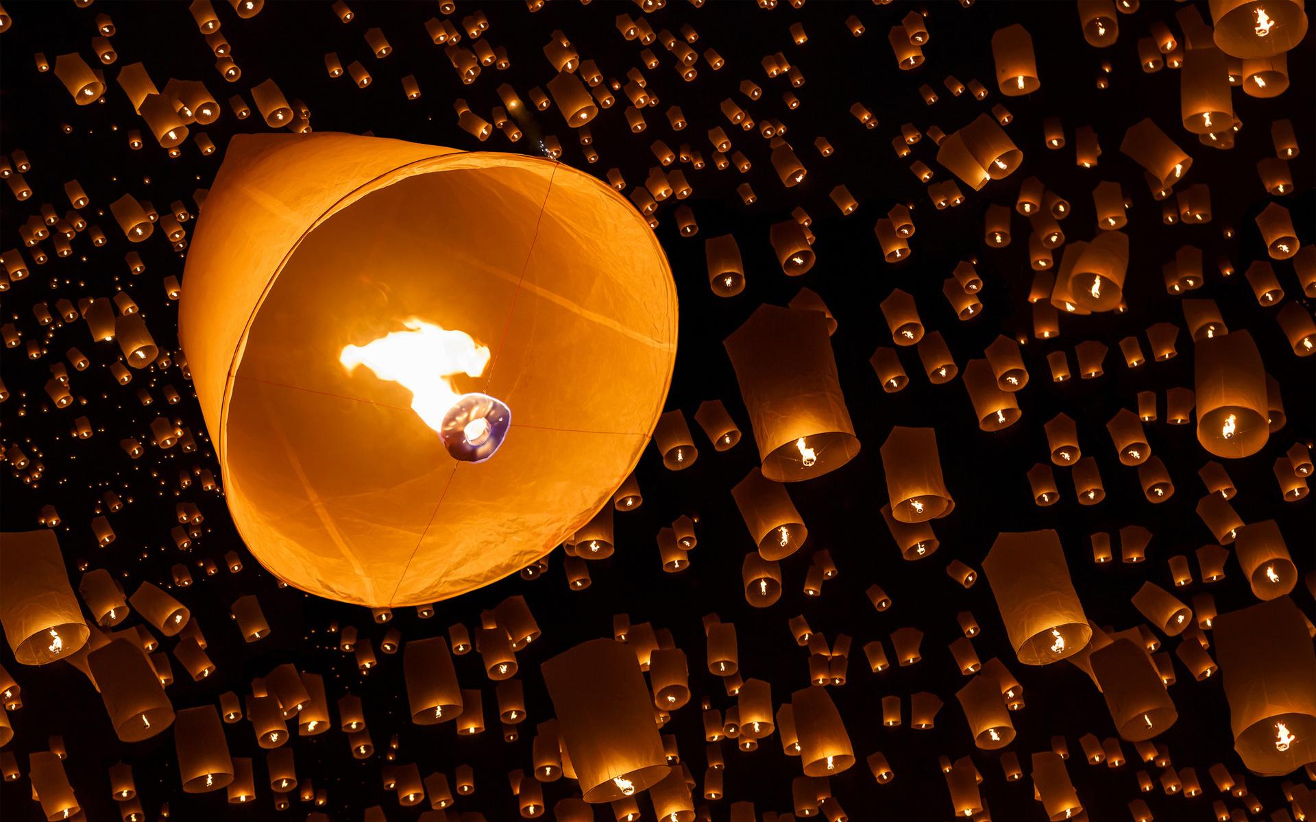 Fire sky lanterns night bokeh wallpaper | 1920x1200 ...