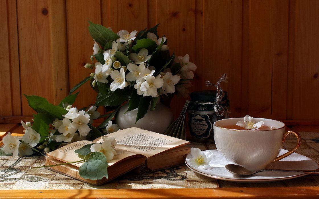 flowers book tea petals wallpaper