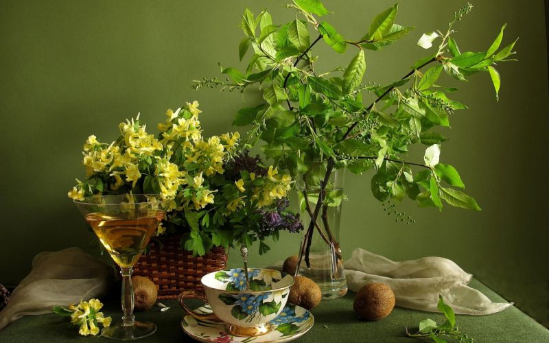 flowers branch cup table wallpaper