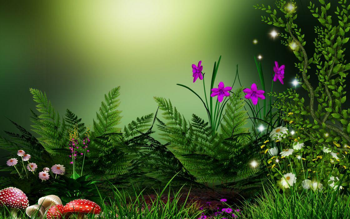 flowers grass mushrooms wallpaper