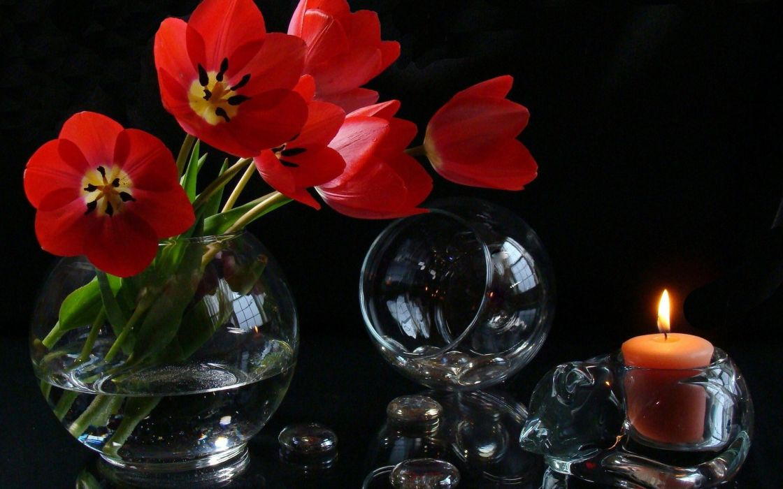 flowers wine glasses candle wallpaper