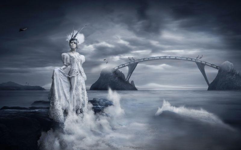 girl bridge clothes water wave bird sky view wallpaper