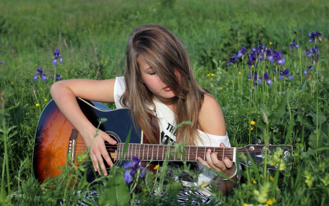 girl guitar DECA string mood guitars girls women wallpaper