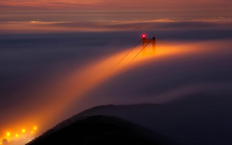 Golden Gate Bridge Bridge San Francisco Fog Mist wallpaper