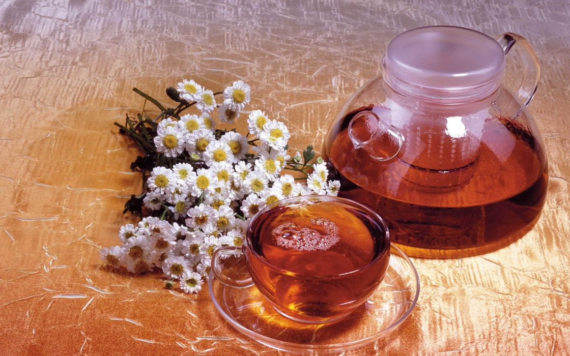 kettle tea chamomile wallpaper