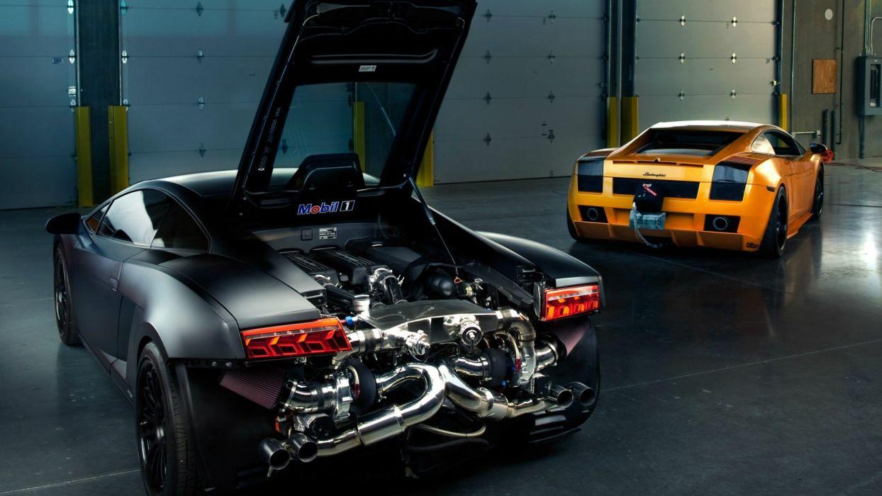 Lamborghini Gallardo Turbo Engine Matte engines supercar supercars wallpaper