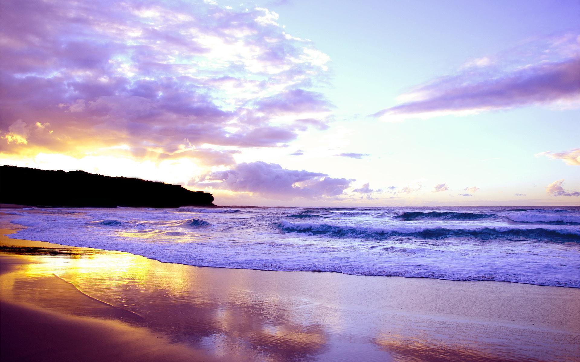 Landscape Sea Sunset Waves Beach Sky Beautiful Reflection Wallpaper