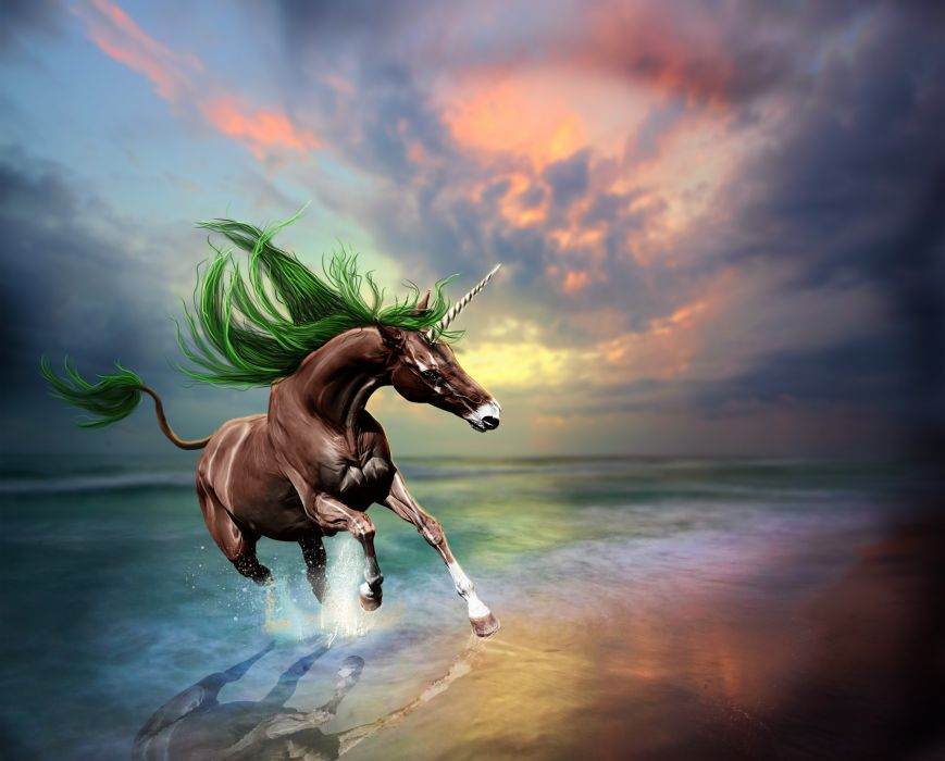 Magical animals Unicorns Coast Run Fantasy wallpaper