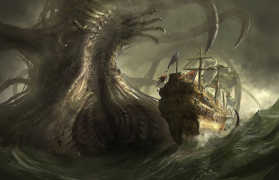 Monsters Ships Sailing Fantasy wallpaper