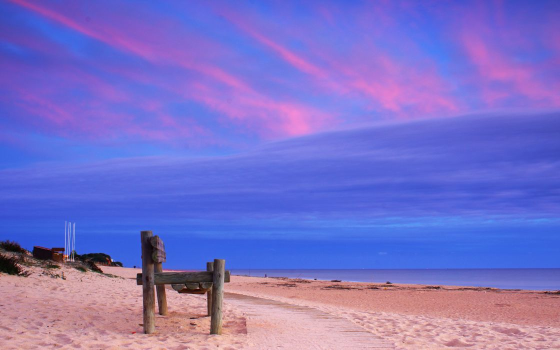 Ocean beach sand path bench coast wallpaper