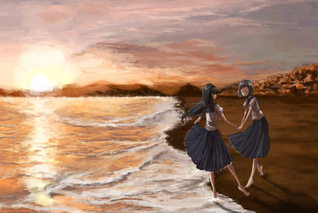 original girls barefoot beach black hair blue eyes landscape lyricism3710 original scenic seifuku skirt sunset water wallpaper