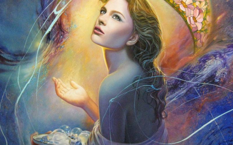 painting art girl face eyes hair back hand mood wallpaper