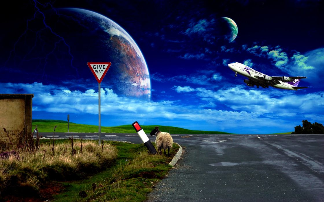 plane sheep road sky sign wallpaper