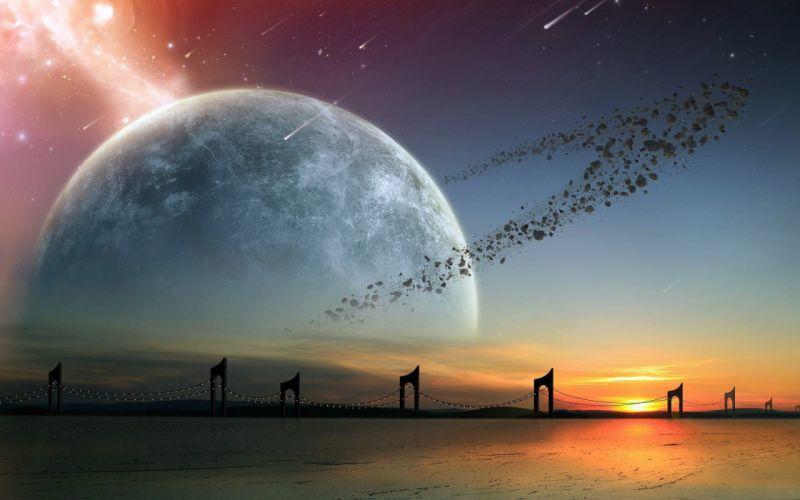 Planet Stars Asteroids Bridge Alien Landscape wallpaper