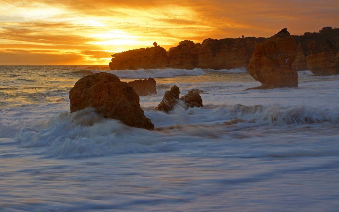Portugal Atlantic Ocean cliffs coast surf sun wallpaper