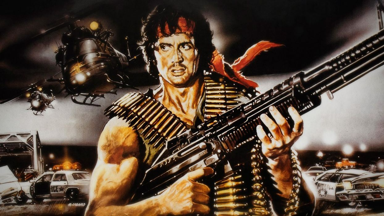 Rambo Sylvester Stallone Machine guns Movies wallpaper