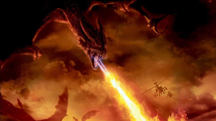Reign of Fire Dragon Fire Helicopter London movies movie dragons battle wallpaper