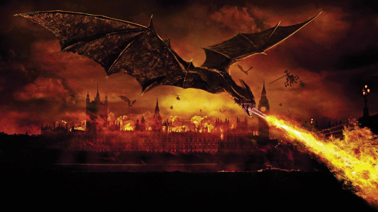 Reign Of Fire Dragon Helicopter London Movies Movie Dragons Wallpaper