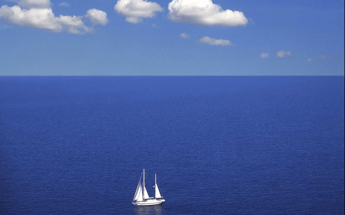 sea sky clouds boat wallpaper