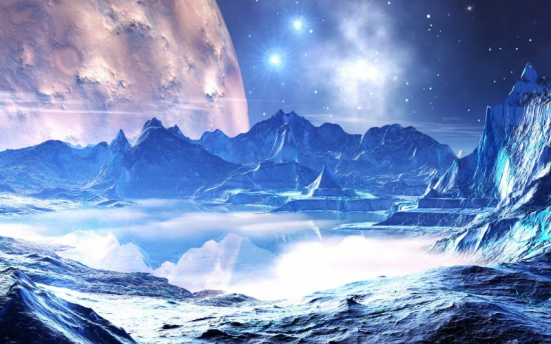 space stars planets water reflection wallpaper