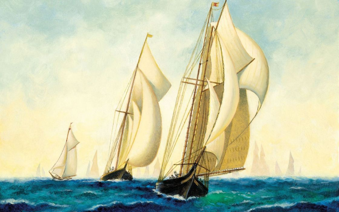 squadron painting ships sea navy art wallpaper
