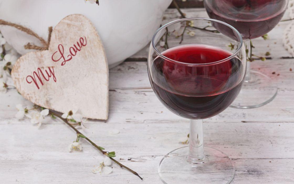 table glasses red wine heart wallpaper