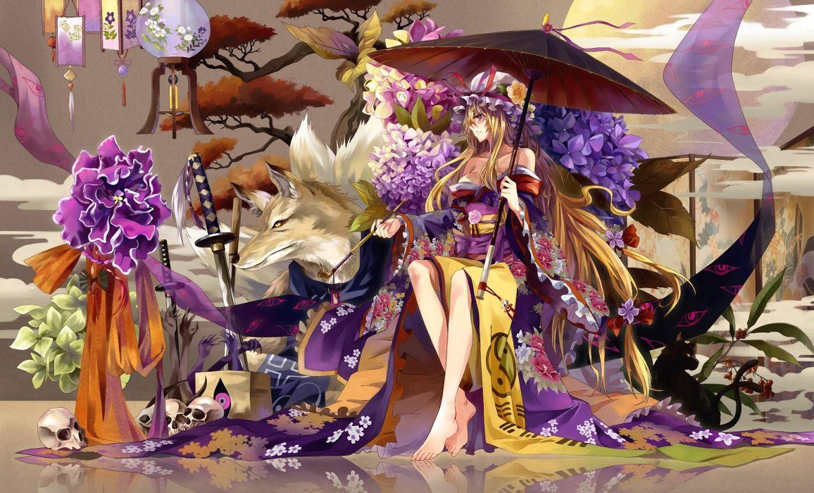 Touhou yakumo yukari yakumo ran chen a girl a wolf an umbrella jacket skull flowers lamps sword katana hydrangea pipe wood wallpaper