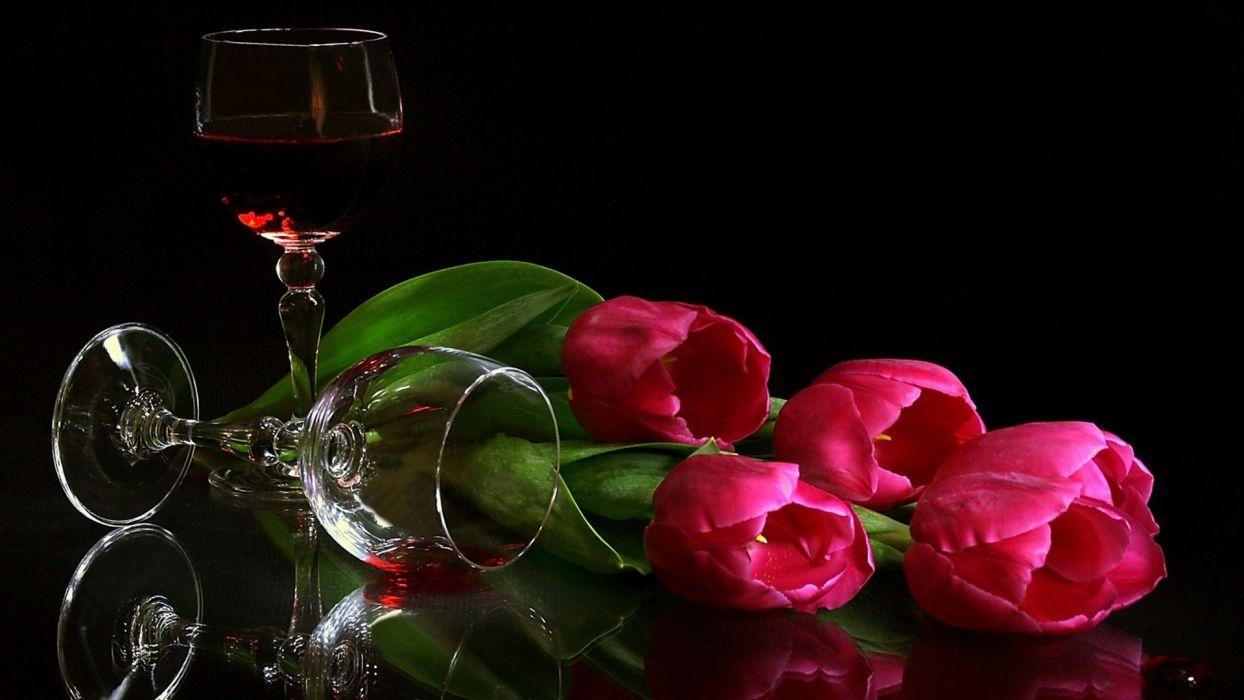 tulips wine glasses wallpaper