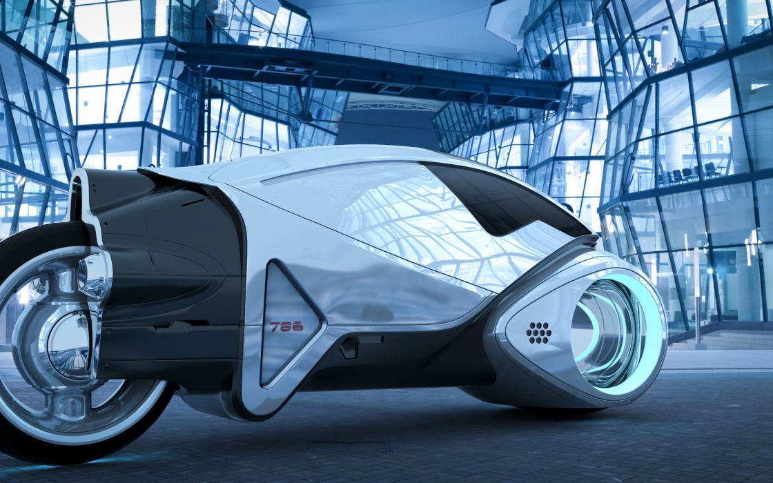 art  motorcycle  Tron  Legacy  buildings  glass concept wallpaper