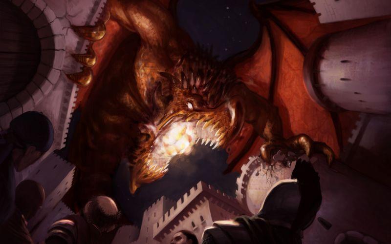 art dragon attack attack castle war people rage fall wallpaper