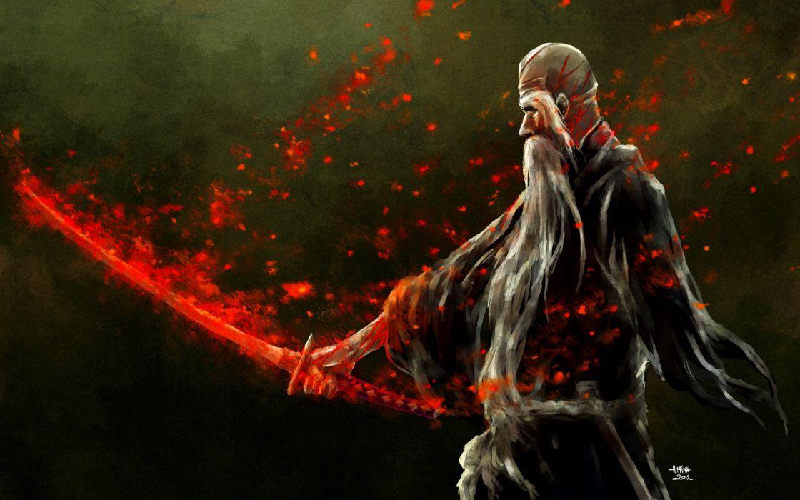 Bleach Art  nanfe  old man  yamamoto genryuusai shigekuni  weapon  sword  blood  wounds  scars  magic wallpaper