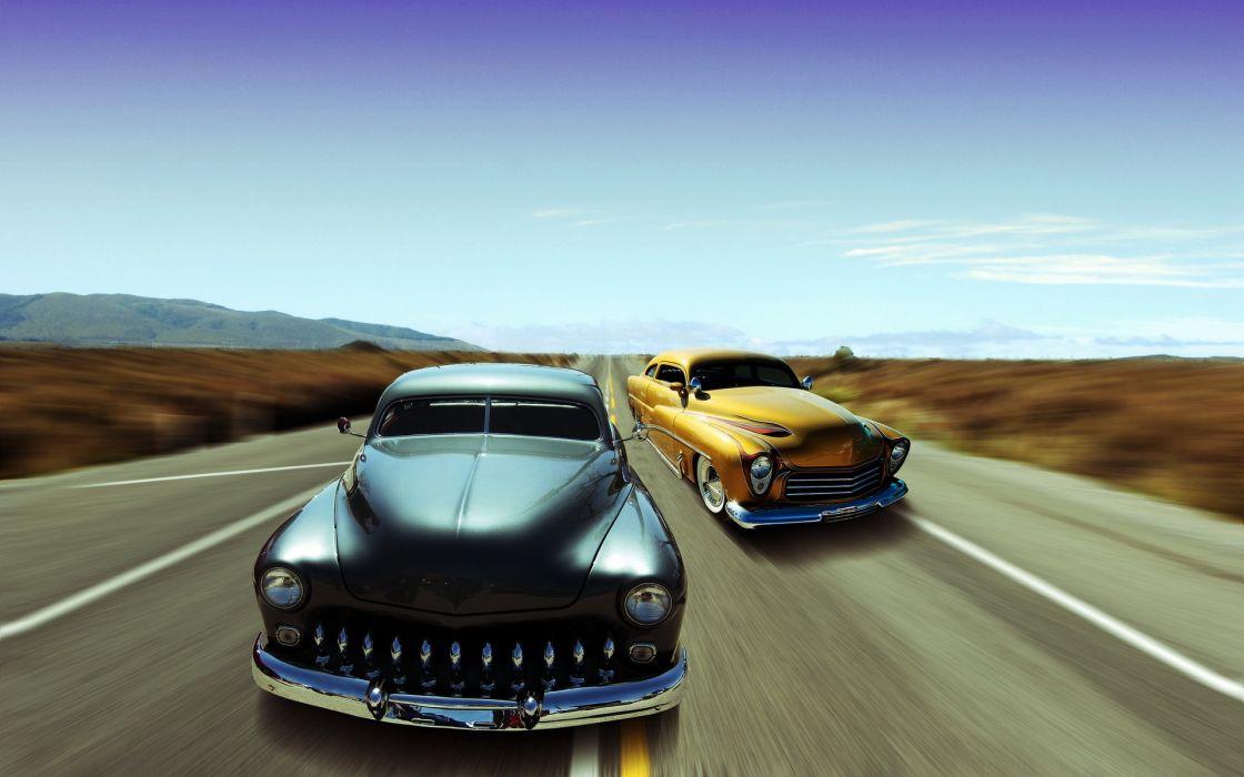 cars  road  background retro custom lowrider wallpaper