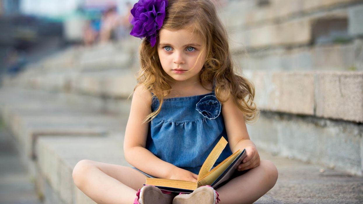Cute Baby Girl mood book child wallpaper