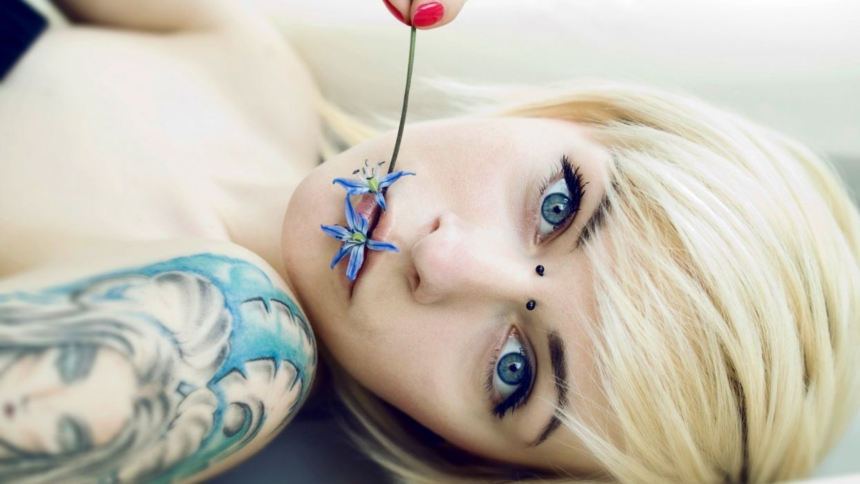 Cute Girl Tattoo tattoos women blonde glam emo wallpaper