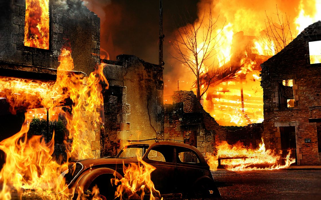 fire building car creative wallpaper