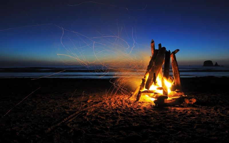 Fire Beach Night Timelapse Sparks Camp Camping wallpaper