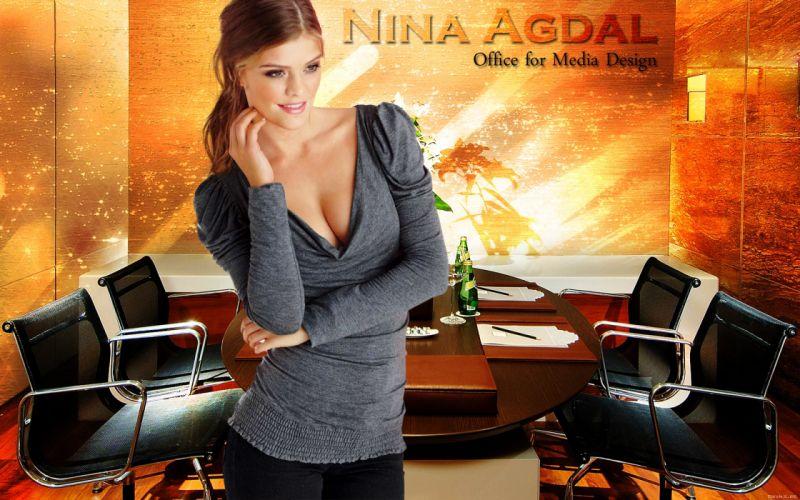 Nina Agdal Danish fashion model women t wallpaper